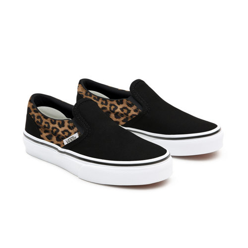 Personalisierbare+Kids+Black+Leopard+Slip-On