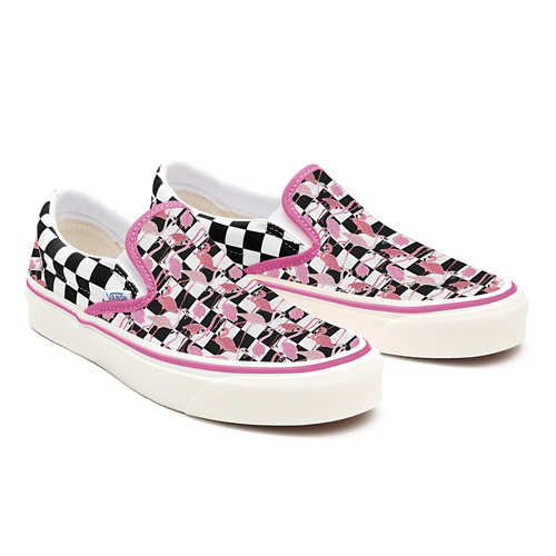 Flamingos+Checkerboard+Slip-On+Wide+Personalizadas