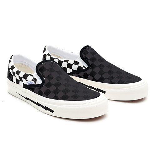 Checkerboard+Lighting+Bolt+Slip-On+Wide+Personalizadas