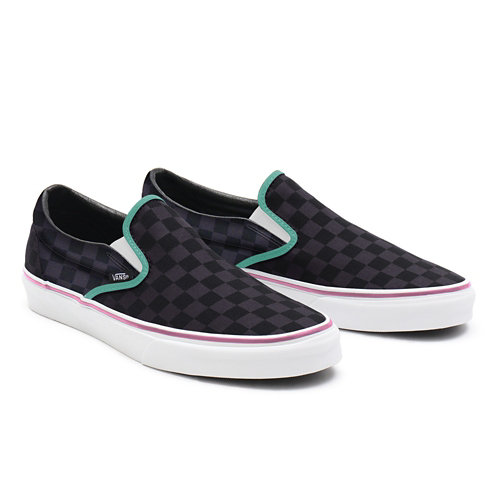 Gepersonaliseerde+Black+Checkerboard+Slip-On+met+brede+pasvorm