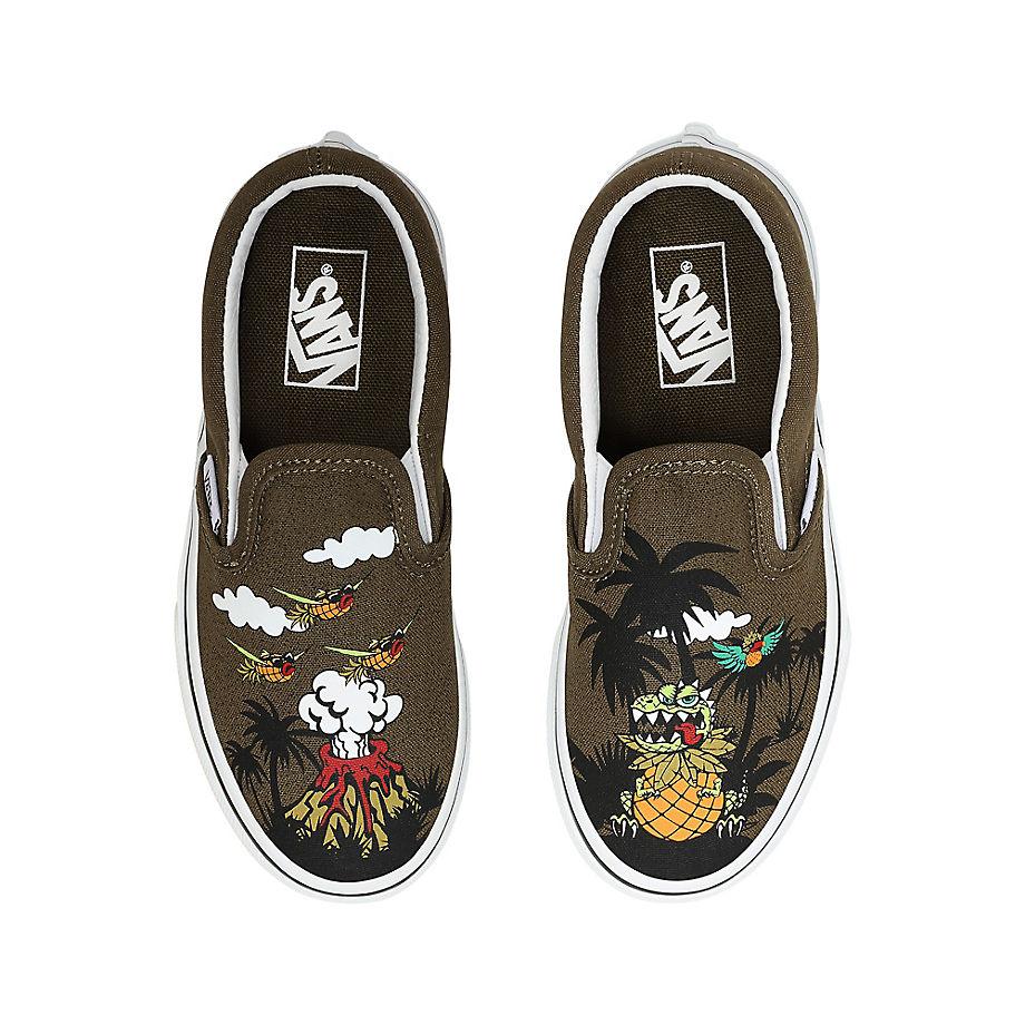 Chaussures Junior Dineapple Floral Classic Slip-on (4-8 Ans) ((dineapple Floral) Military Olive/true White) Enfant , Taille 31.5 - Vans - Modalova