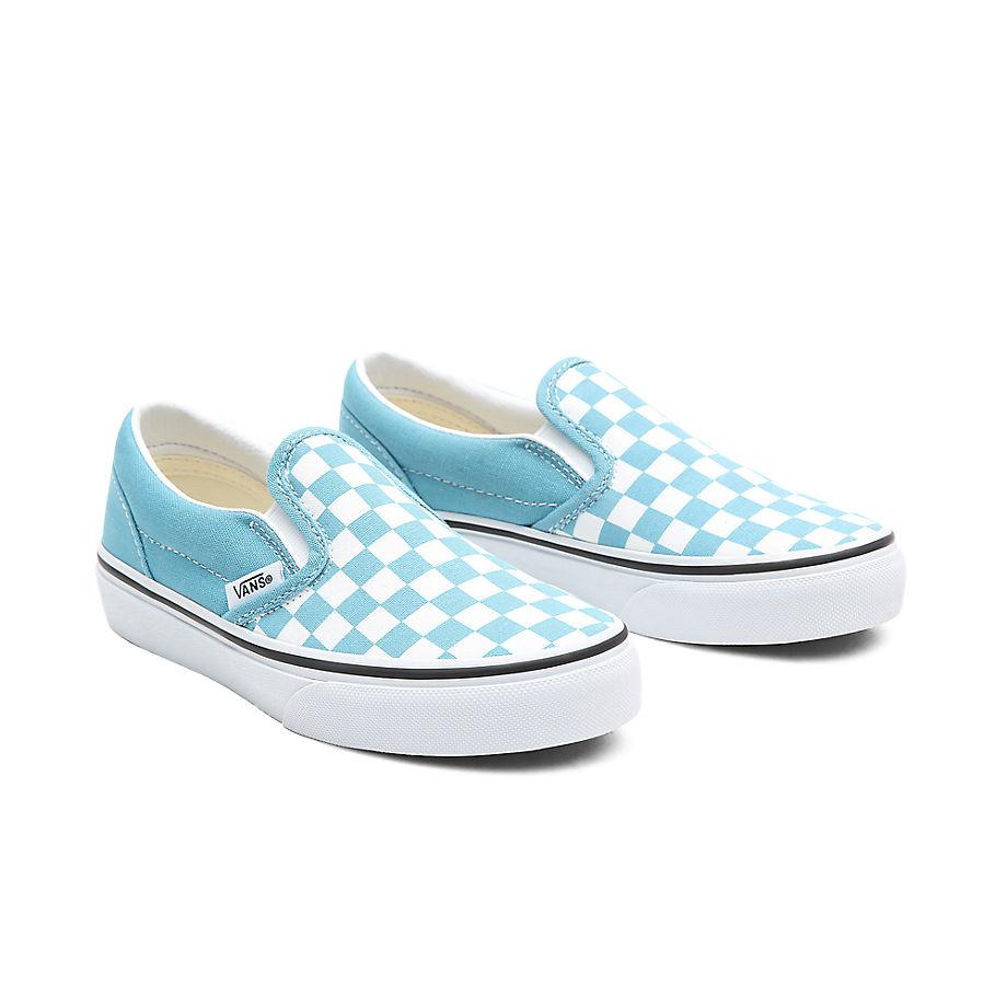 Chaussures Checkerboard Classic Slip-on Junior (4-8 Ans) ((checkerboard) Delphinium Blue/true White) Enfant , Taille 31.5 - Vans - Modalova