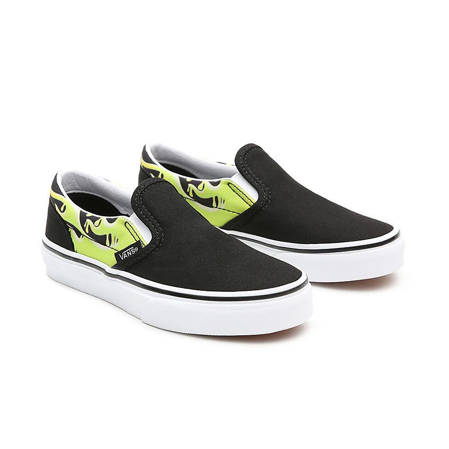 Chaussures Slime Flame Classic Slip-on Enfant (4-8 Ans) ((slime Flame) Black/true White) Enfant , Taille 32 - Vans - Modalova