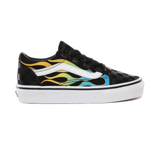 Chaussures Junior Glow Flame Old Skool (4-8 ans) | Noir | Vans
