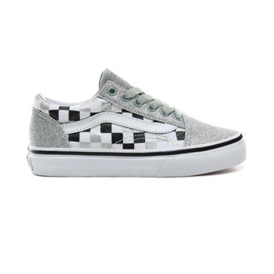 Kids Glitter Checkerboard Old Skool Shoes (4 8 years)