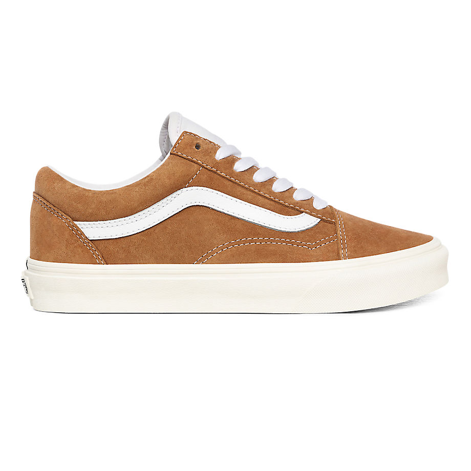 VANS Pig Suede Old Skool Shoes ((pig Suede) Brown Sugar/snow White) Women Brown, Size 11 - VN0A4BV518M