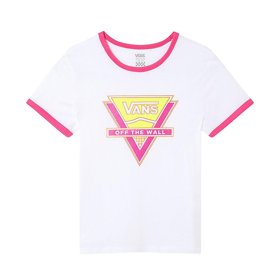 VANS T-shirt Neon Triangle Glitter Junior (8-14+ Ans) (white-fuchsia Purple) Girls Blanc, Taille XL