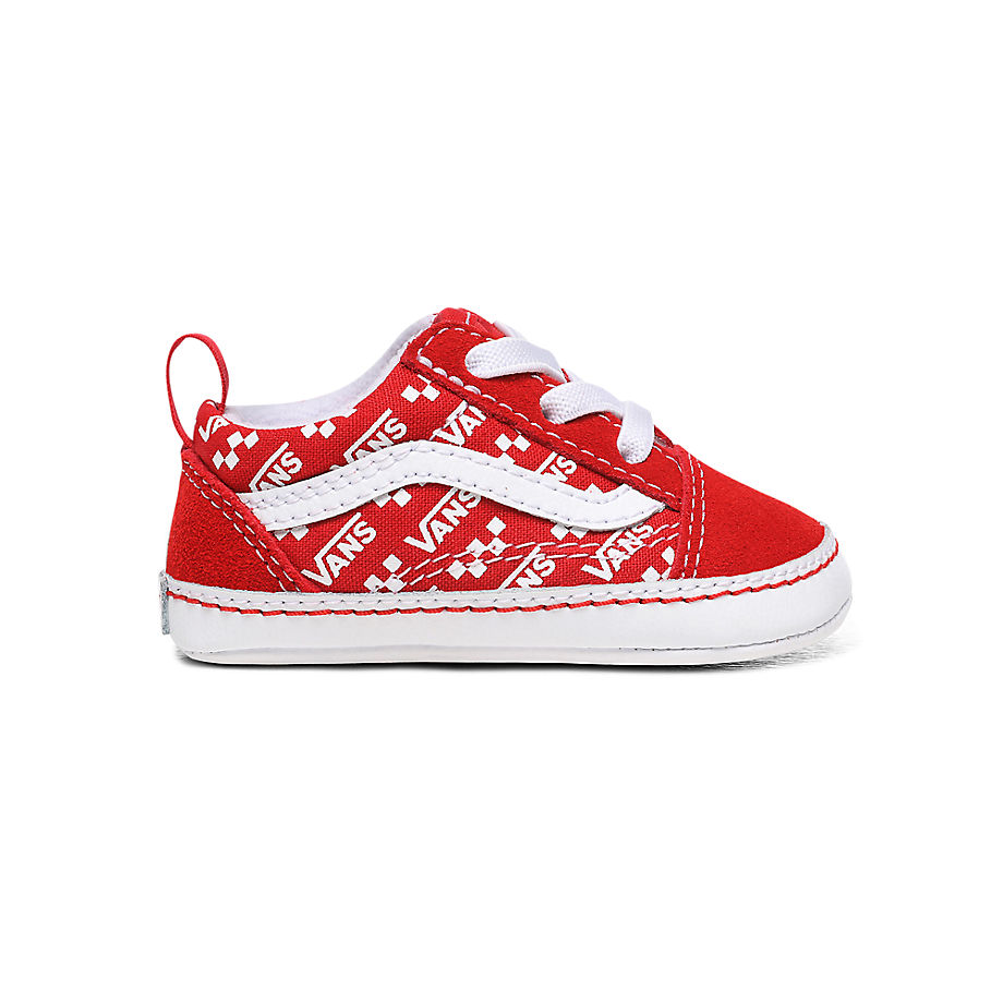 VANS Chaussures Logo Repeat Old Skool Crib Bébé (0-1 An) ((logo Repeat) Racing Red/true White) Infan