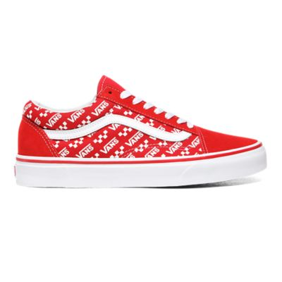 Logo Repeat Old Skool Shoes   Red   Vans