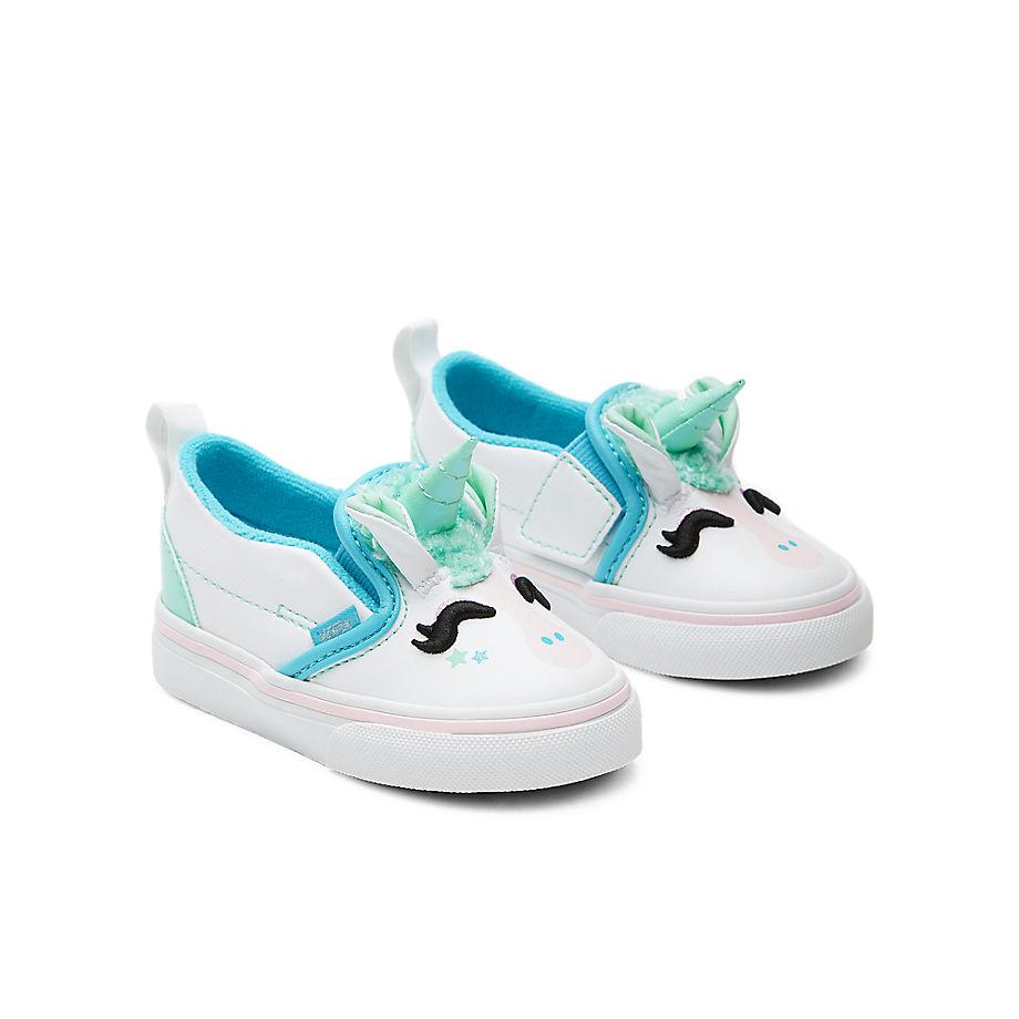 VANS Chaussures Unicorn Slip-on V Bébé (1-4 Ans) ((unicorn) Blue Atoll/iridescent) Toddler Blanc, Taille 19