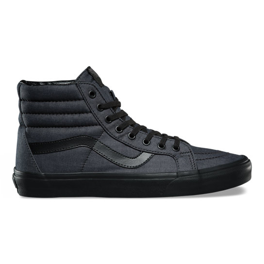 vans sk8 hi skate shoe black chambray